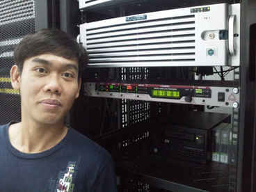 Eni Media engineer Tan Kim Kee with Junger Audio unit